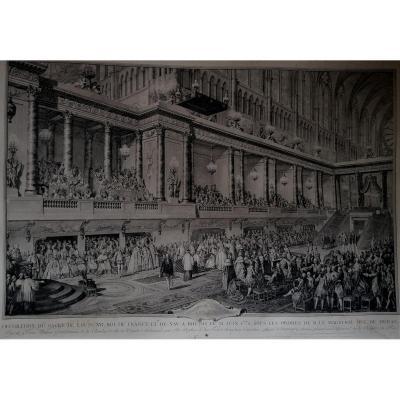 Gravure-moreau Le Jeune Graveur-serment De Louis XVI A Son Sacre En 1775 A Rheims-