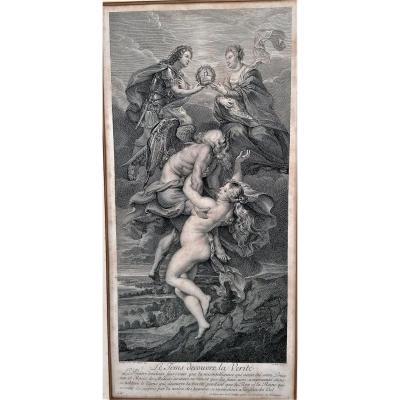 Engraving-paul Rubens-jean Marc Nattier-alexis Loir-le Tems Discover La Verite-marie De Medic-