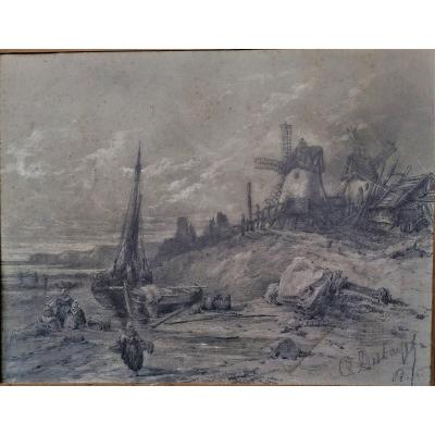 Drawing-charles Deshayes-1831-1895-seaside Anime With Boats And Mills-normandy? -