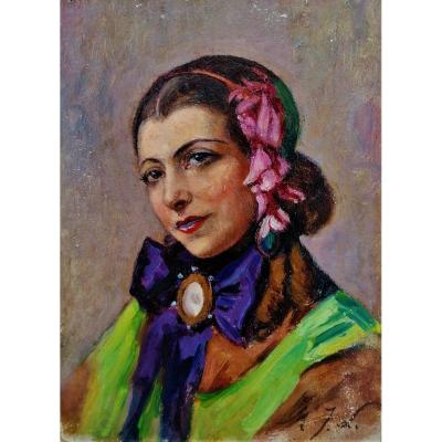 Portrait Of A Young Woman - Circa 1900 - 1930 - Monogrammee Mjl -
