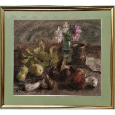 Pastel - Still Life With Fruits And Flowers - Post Impressionist - Monogram - XX Eme Century