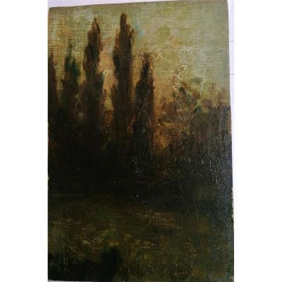 Leon Printemps 1871 - 1945 Oil-landscape Nocturne-moonlight -5/8