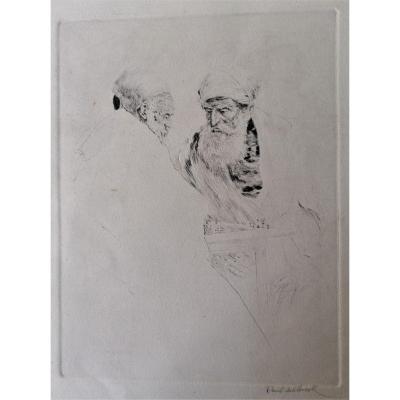 Pointe Sèche-engraving-paul Ashbrook 1867 -1949-american School-players D Chess-orientalist-