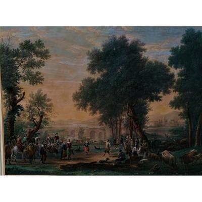 Watercolored Engraving-highlights Of Gouache-arabic Gum-fete Villageoise-claude Gellée-haldenwang-