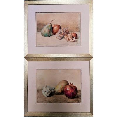 Paire D Aquarelles-nature Morte Aux Fruits-m. Boyer B...-fin XIX Eme-