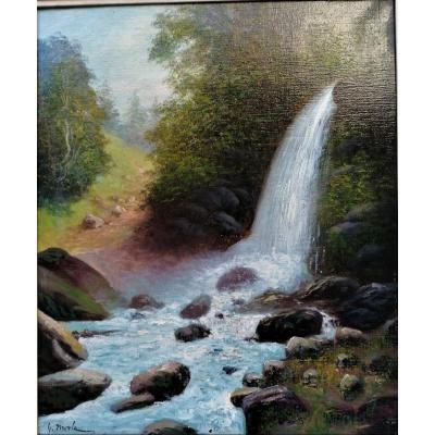 Georges Merle ( 1851 - 1886 ) - Huile Sur Toile - Cascade -