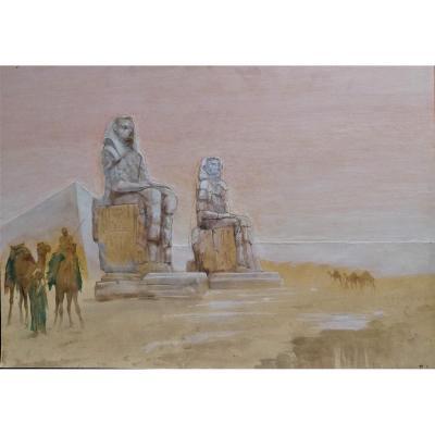 Aquarelle - Francesco Longo Mancini - Orientalisme - Egypte - Colosses De Memnon -