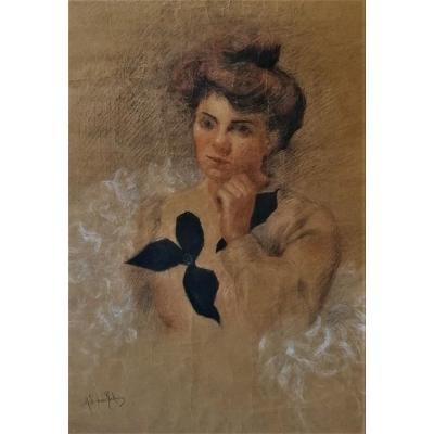 Fusain Et Crayons Gras -portrait - Epoque Impressionniste - Circa 1880 -