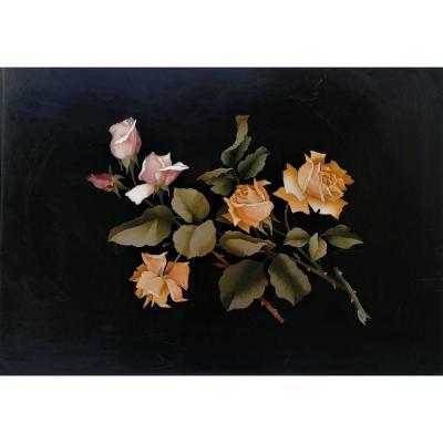 Tableau - Marqueterie De Marbre - Bouquet De Roses -florence - XIX Eme Siecle - 38 X 53 cm -