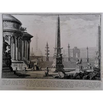 Gravure - Giovanni Battista Piranese - Vue Du Capitole - Architecure Romaine -