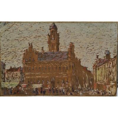 Fernand Laval - 1886 1966 - Hotel De Ville De Middelburg - Holland - Oil On Cardboard 192 ... -