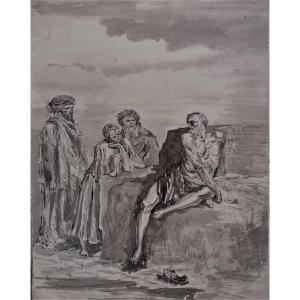 Drawing And Ink Washing - Job Talks With His Friends - XIXth Century - D After Gustave Doré -