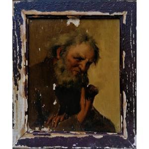 Huile Sur Panneau -jean Alexandre Remy Couder - Portrait D Un Homme Age A La Pipe - 1/2