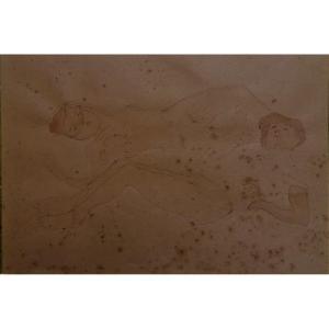 Jules Pascin ( 1885 - 1930 ) Encre Et Aquarelle - Deux Jeunes Femmes Nues Allongees -