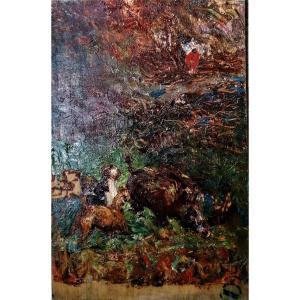 Huile - Rene Herisson - Chasse - Sanglier - Chiens - Halali - Impressionniste -