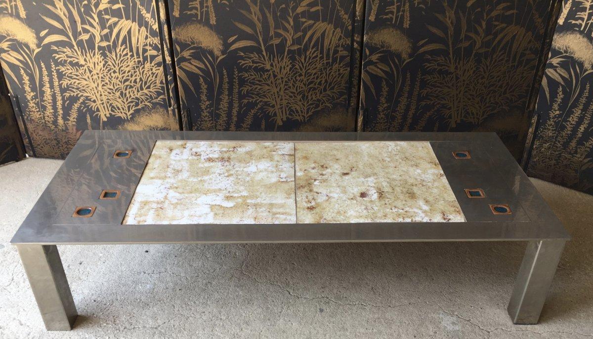 Table Basse Roche Bobois 5 En Acier Brosse - Tables Basses
