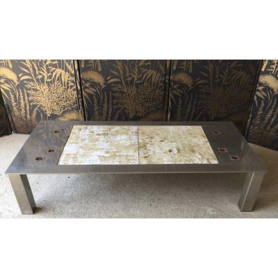 Roche Bobois 1970 Coffee Table In Brushed Steel