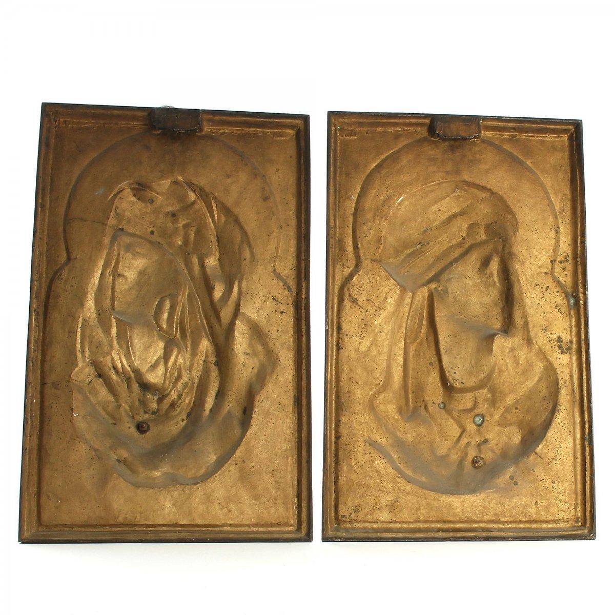 Algerian Couple Pair Of Bronze Reliefs Orientalists Signed Arthur Waagen-photo-3