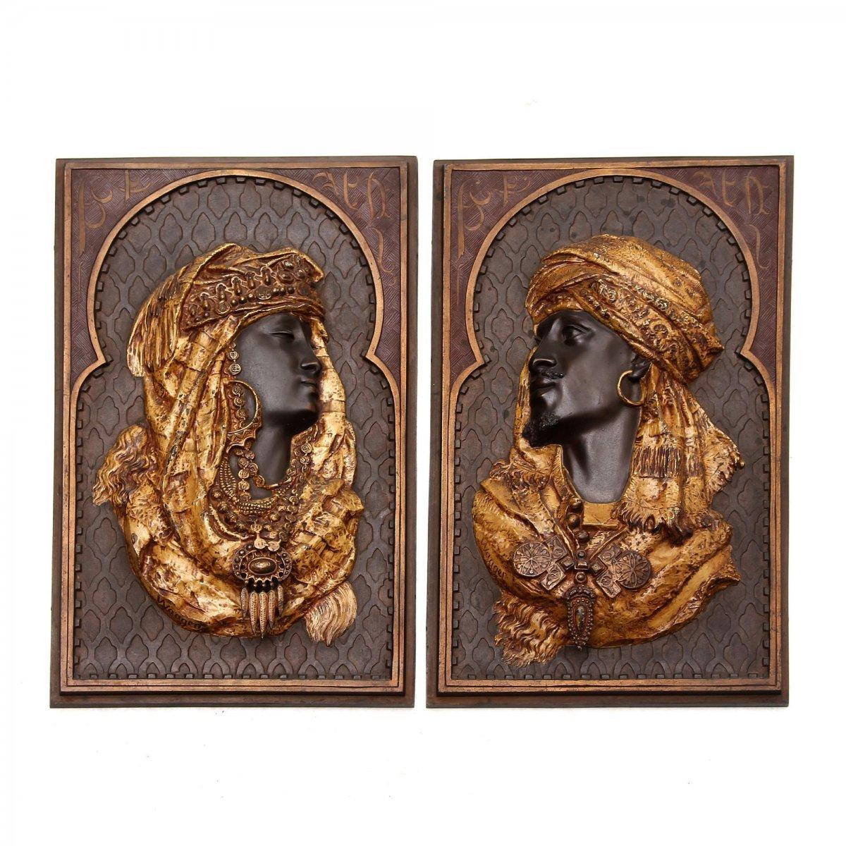Algerian Couple Pair Of Bronze Reliefs Orientalists Signed Arthur Waagen