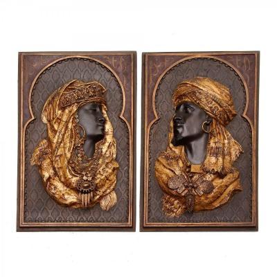 Couple Algerien Paire De Reliefs En Bronze Orientalistes Signé Arthur Waagen