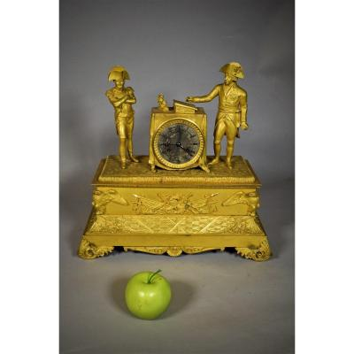 Mantelclock With Napoleon And King Friedrich Wilhelm III Of Prussia Who Is Signing The Treaty Of Tilsit