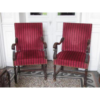 Pair Of Armchairs Louis XIV Style