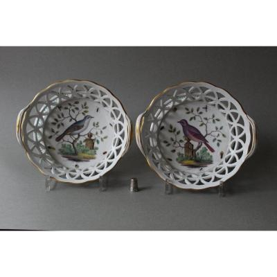 Fürstenberg: Pair Of Openwork Baskets Decorated With Birds And Insects Circa 1820