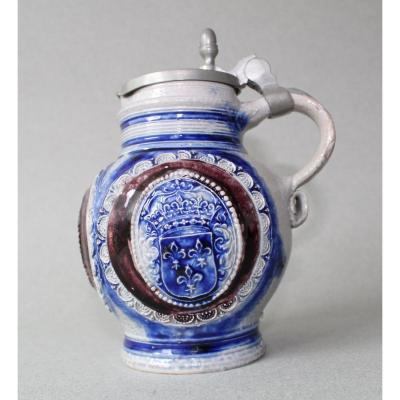 Westerwald: Stoneware Pitcher With Arms Of France 18th Century