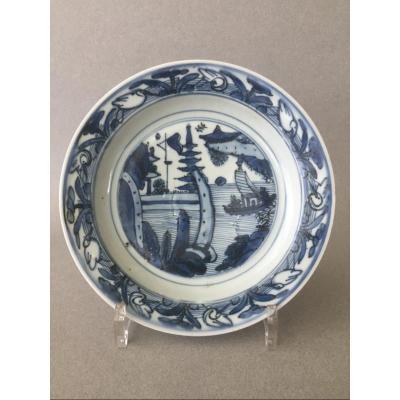 Chine:  Assiette  Bleu & Blanc 16ème siècle