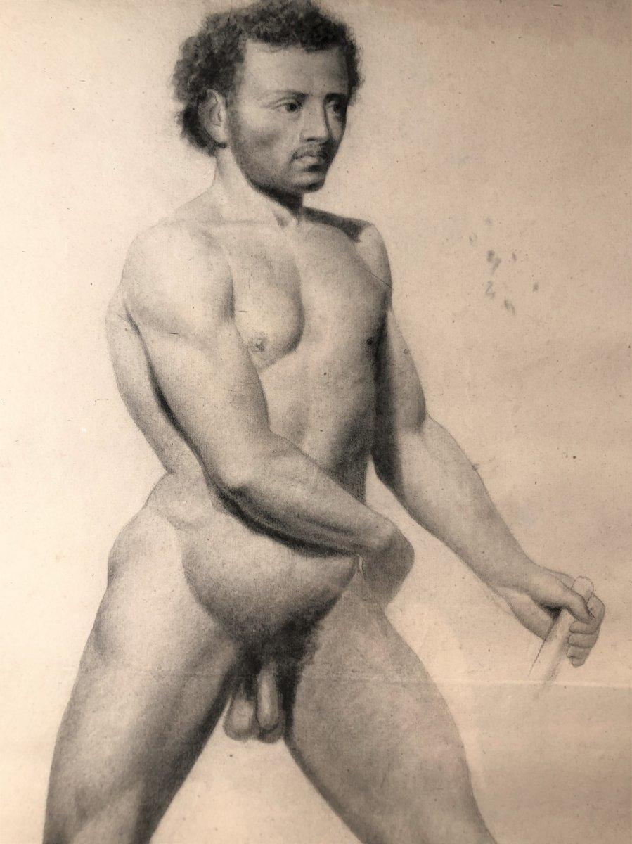 Dessin d'homme-étude d'Un Nu , 19ème Siècle.