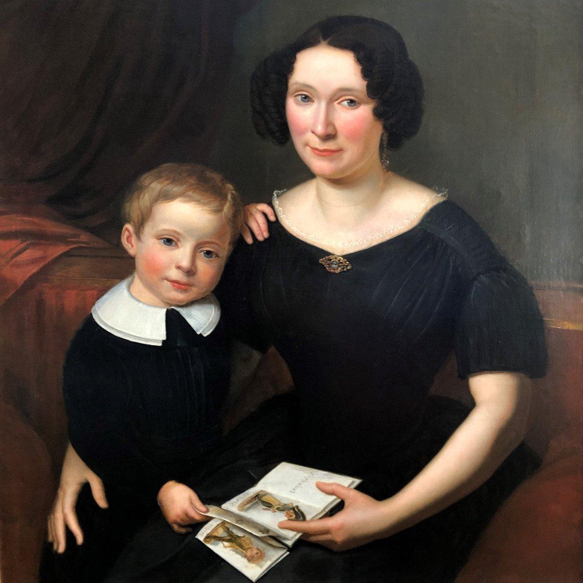 École française: grand tableau romantique belle femme et son enfant à l'abécédaire