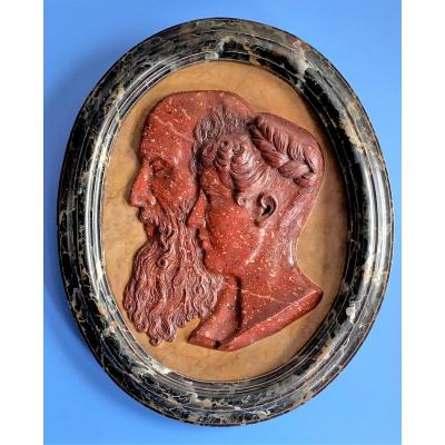 Important Terracotta Medallion, With An Antique Trompe-l'oeil Decoration Of Porphyry And Marble