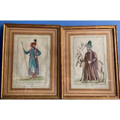 Pair Of Watercolor Engravings, Representing Turcs (ottoman Empire), From The 18th