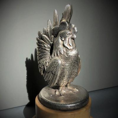 Coq, Animal Bronze With Silver Patina (car Mascot?), Early 20th Century