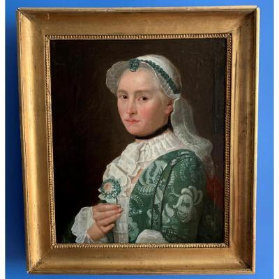 Portrait de femme aristocrate à la fleur, époque Louis XV