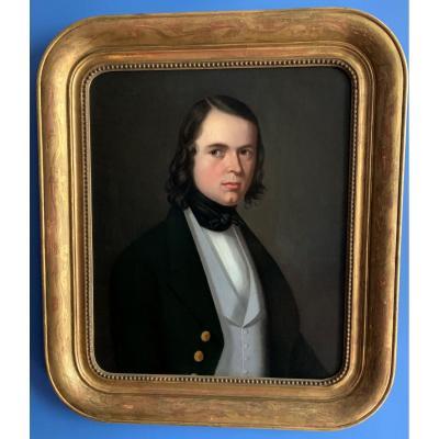 Beau portrait romantique d'un jeune homme, période Louis-Philippe