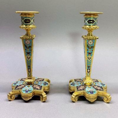 Pair Of Gilt Bronze And Cloisonné Candlesticks, Napoleon III Period