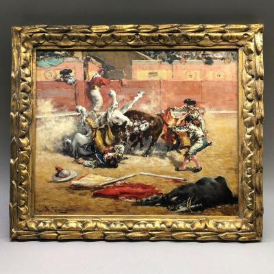 Andres Gimeno: Bullfighting Scene: Corrida `` The Strength Of The Bull '', Circa 1900