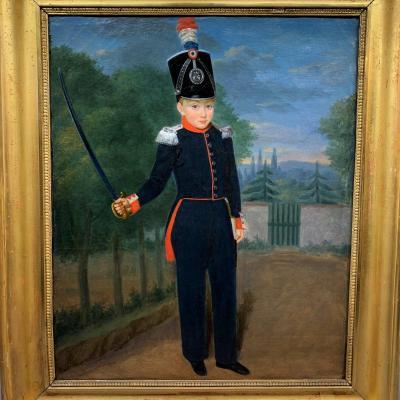 Portrait d'enfant costumé en officier de chasseur de la garde nationale,  époque Louis-Philippe