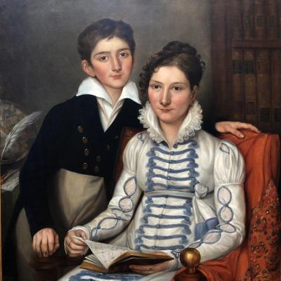 J-H TAHAN 1810: Portrait d'un très jeune homme Hippolyte François JAUBERT et de sa mère