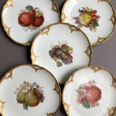 Kpm Berlin: Suite Of 5 Dessert Plates, Early 20th Century