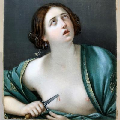 Portrait Of A Woman: Miniature On Ivory `` The Suicide Of Lucretia '' After Guido Reni