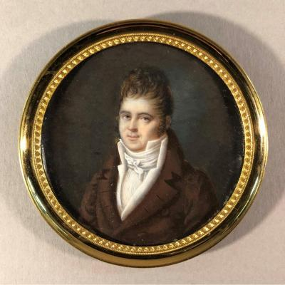Madame Corchand: Miniature On Ivory, Portrait Of A Man Signed And Dated 1813