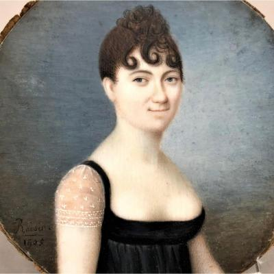 Roisin 1805: Miniature On Ivory, Portrait Of A Woman, Empire Period
