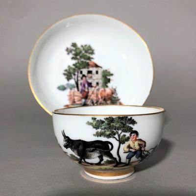 Meissen (saxony): Porcelain Cup With 18th Century Country Decor