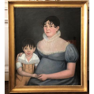 Grand Portrait de famille d'époque empire:  ''La mère et son fils''