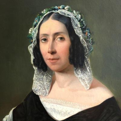 VIGUIER, Urbain Jean 1847: grand portrait de femme, époque Louis-Philippe.