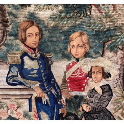 Les Enfants du Roi Léopold Ier des Belges: Broderie d'après Charles Baugniet
