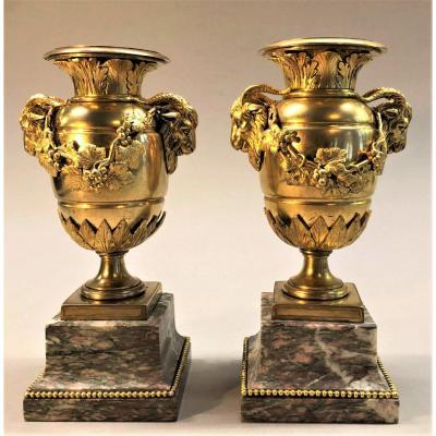 "Antique ""goat's Head"" Vases, Gilt Bronze And Marble, Louis XVI Style"