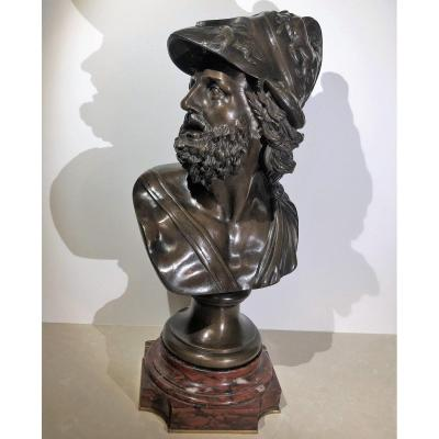 Bronze Of The Grand Tour After The Antique Depicting Menelaus In Bust